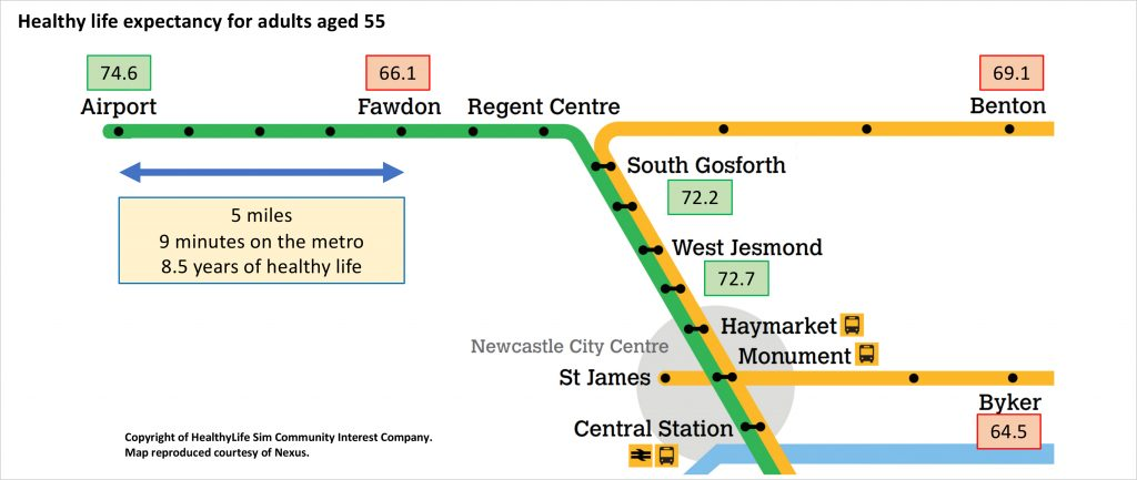 """An """"metro station"""" infographic, showing life expectancy across different parts of Newcastle. Click to read more."""